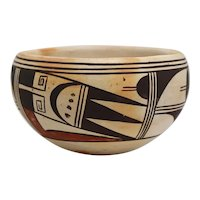 Small Native American Hopi Polychrome Pottery Bowl