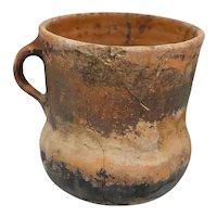 Prehistoric Glazed Pottery One-Handle Vessel