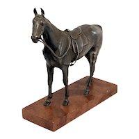 Austrian Silverplated Bronze Saddled Horse Equestrian Sculpture