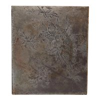 Engraved Steel Printing Press Plate, Lily Flowers and Dragonfly