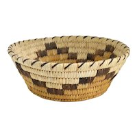 Small Vintage Native American Coiled Low Basket / Bowl