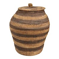 Vintage Native American Striped Woven Lidded Basket