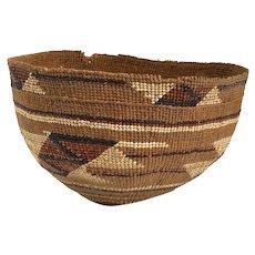 Vintage Native American Hupa Twined Basket Hat