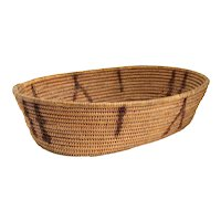 Native American California Coiled Oval Shallow Woven Basket
