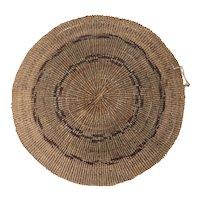 Native American Mount Shasta California Twined Round Basket
