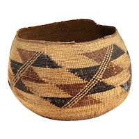 Native American California Karok/Hupa Woven Polychrome Basket