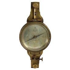 American Andrew Meneely Cased Brass Surveyor's Vernier Compass