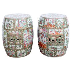 Pair of Chinese Export Canton Porcelain Rose Medallion Drum Garden Stools