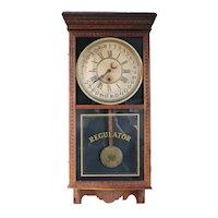 Large American Sessions Clock Company Oak Regulator Wall Clock