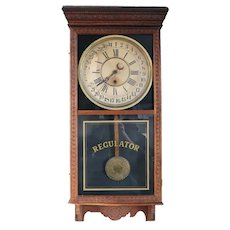 Large American Sessions Clock Company Oak Regulator Wall Clock and Calendar
