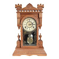 American William L. Gilbert Clock Company Walnut Shelf Clock