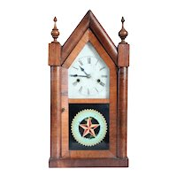 American New Haven Clock Company Gothic Revival Rosewood Veneer Shelf Clock