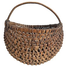 Large American Primitive Hickory Splint Buttocks / Melon Gathering Basket