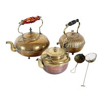 Three English and Chinese Brass and Copper Teapots and Two Strainers