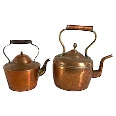 Two English Victorian Copper and Brass Teapot Kettles