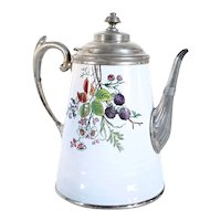 American Aesthetic Movement Manning & Bowman Enamel and Pewter Graniteware Coffee Pot