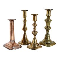 Collection of Four English Victorian Brass and Copper Candlesticks