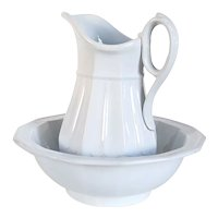 English Wedgwood Victorian White Ironstone Pitcher and Wash Basin Set