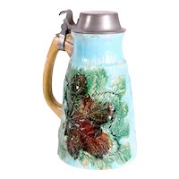 English Victorian Pewter Mounted Faience Pottery Maple Leaf Pattern Syrup Pitcher
