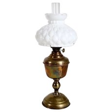 American Plume & Atwood Acorn Kerosene Oil Lamp and Milk Glass Shade