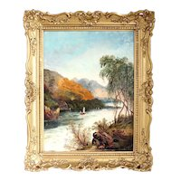 British A.M. SMALL Oil on Canvas Landscape Painting, Boating on the River