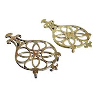 Set of Two Victorian Brass Celtic Knot Round Kitchen Kettle Stand / Pot Trivets