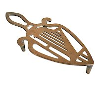 Irish Victorian Brass Harp Flat Iron Trivet