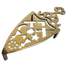 Small Victorian Reticulated Brass Flat Iron Trivet