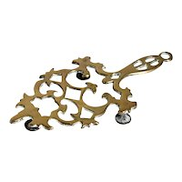 Small Chippendale Revival Brass Reticulated Flat Iron Trivet