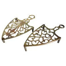 Two Small Reticulated Brass Flat Iron Trivets