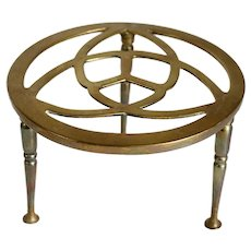 Reticulated Brass Round Kettle Fireplace Trivet / Teapot Stand
