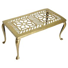 English Edwardian Reticulated Brass Fireplace Hearth Trivet