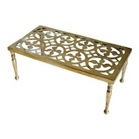 Large Victorian Reticulated Brass Fireplace Hearth Trivet