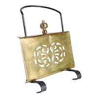 English Victorian Brass and Wrought Iron Sliding Standing Fireplace Hearth Trivet