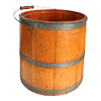 Large American New England Pine Stave Bucket Pail