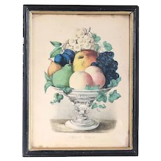 Framed American Currier and Ives Colored Lithograph, Still Life of a Fruit Vase