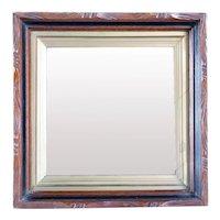 Small Victorian Walnut Framed Beveled Square Wall Mirror