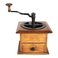 Victorian Iron and Wooden Hand Crank Coffee Mill Grinder