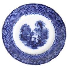 English Victorian Flow Blue Ironstone Transferware Italia Pattern Plate