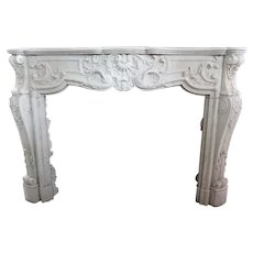 Fine French Louis XV Style White Carrara Marble Fireplace Surround