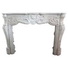 Fine French Louis XV Style White Carrara Marble Fireplace Surround