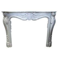 French Louis XV Style White Marble Fireplace Surround