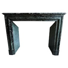 French Louis XIV Style Verde Antico Marble Fireplace Surround