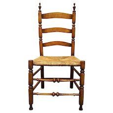 Early American New England Sausage Turned Maple and Oak Rush Seat Side Chair