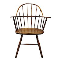 Early American Hickory and Pine Sack Back Windsor Armchair