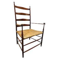 American Mount Lebanon Shaker Maple Rush Seat Ladderback Armchair