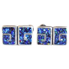 Pair of Vintage Mexican Margot de Taxco Sterling Silver and Blue Enamel Screw Back Earrings