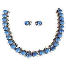 Vintage Mexican Taxco Sterling Silver and Blue Glass Necklace and Screw Back Earrings Suite