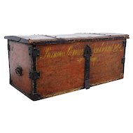 Scandinavian Painted Pine Iron Mounted Dome-Top Blanket Chest
