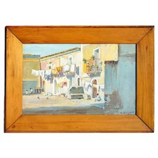 Italian C. SILIGATO Oil on Board Painting, Italian Village Street Scene